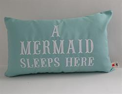 Sunbrella Embroidered Mermaid Pillow Cover - A Mermaid Sleeps Here® - Glacier