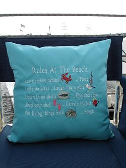 Sunbrella Embroidered Sea Pillow Cover - Rules At The Beach - Aruba