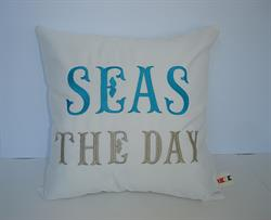 Sunbrella Embroidered Sea Pillow Cover - Seas The Day - Natural
