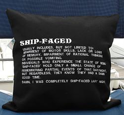 Sunbrella Embroidered Shipfaced Pillow Cover