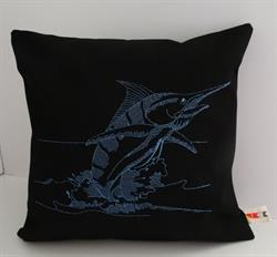 Sunbrella Embroidered Game Fish Blue Marlin Pillow Cover - Black 2