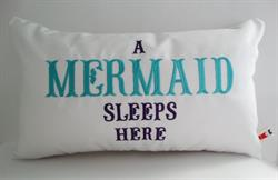 Sunbrella Embroidered Mermaid Pillow Cover - A Mermaid Sleeps Here® - Teal and Purple Embroidery