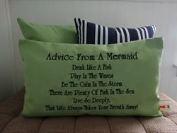 Sunbrella Embroidered Mermaid Pillow Cover - Advice From A Mermaid - Parrot