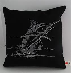 Sunbrella Embroidered Game Fish Blue Marlin Pillow Cover - Black/Silver