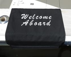"Sunbrella Custom Embroidered Welcome Aboard Boarding Mat For Boat Gunnel - Brush Script - 20"" x 35"""