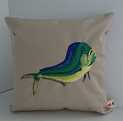Sunbrella Embroidered Game Fish Dolphin Fish Pillow Cover - Antique Beige