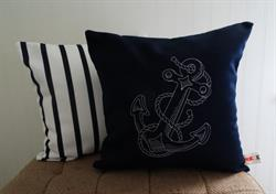 Sunbrella Embroidered Anchor Indoor Outdoor Pillow Cover - Navy