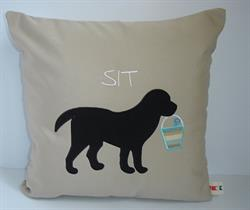Sunbrella Embroidered Black Lab Pillow Cover - Sit - Antique Beige