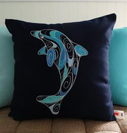 Sunbrella Embroidered Swirly Pillow Cover - Dolphin - Navy