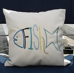 Sunbrella Embroidered FISH Canvas Pillow Cover - Natural