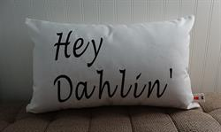 Sunbrella Embroidered Hey Dahlin' Indoor Outdoor Pillow Cover - Spectrum Eggshell