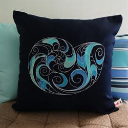 Sunbrella Embroidered Swirly Pillow Cover - Nautilus Shell - Navy