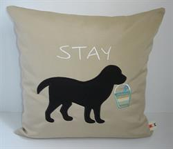 Sunbrella Embroidered Black Lab Pillow Cover - Stay - Antique Beige