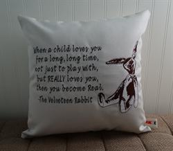 Sunbrella Embroidered Velveteen Rabbit Quote Indoor Outdoor Pillow Cover - Canvas Canvas