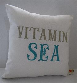 Sunbrella Embroidered Sea Pillow Cover - Vitamin Sea - Natural