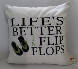 Sunbrella Embroidered Flip Flop Pillow Cover - Life's Better - Natural