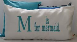 Sunbrella Embroidered Mermaid Pillow Cover - M is For Mermaid -  Natural