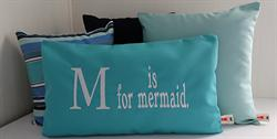Sunbrella Embroidered Mermaid Pillow Cover - M Is For Mermaid - Aruba