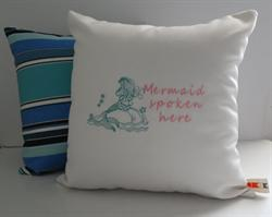 Sunbrella Embroidered Mermaid Pillow Cover - Mermaid Spoken Here - Natural