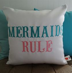 Sunbrella Embroidered Mermaid Pillow Cover - Mermaids Rule - Natural