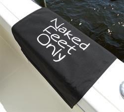 "Sunbrella Custom Embroidered Naked Feet Only Boarding Mat For Boat Gunnel - Carefree Font - 20"" x 35"""