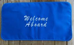Sunbrella Embroidered Welcome Aboard Non Skid Boat Mat - Brush Script - Pacific Blue
