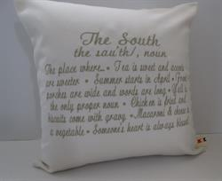 Sunbrella Embroidered The South Pillow Cover - Natural