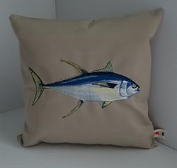 Sunbrella Embroidered Game Fish Yellowfin Tuna Pillow Cover - Antique Beige