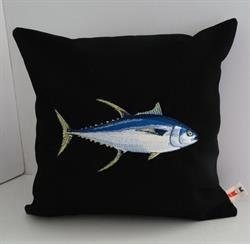 Sunbrella Embroidered Game Fish Yellowfin Tuna Pillow Cover - Black