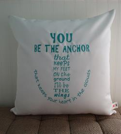Sunbrella Embroidered Anchor Indoor Outdoor Pillow Cover - You Be The Anchor - Natural