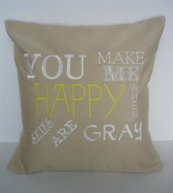 Sunbrella Embroidered Quote Pillow Cover - You Make Me Happy - Antique Beige