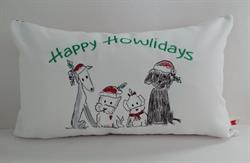 Sunbrella Embroidered Happy Howlidays Indoor Outdoor Pillow Cover - White