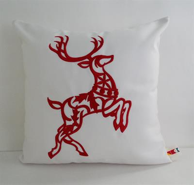 sunbrella embroidered scandinavian christmas reindeer indoor outdoor pillow cover - Christmas Outdoor Pillows