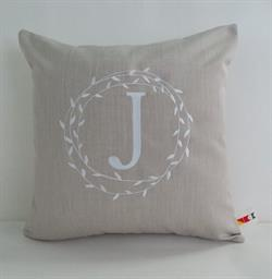 Sunbrella Monogrammed Indoor Outdoor Pillow Cover - Wreath Monogram