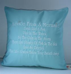 Sunbrella Embroidered Mermaid Pillow Cover - Advice From A Mermaid - Glacier