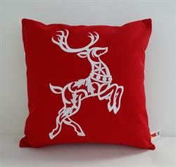 Sunbrella Embroidered Scandinavian Christmas Reindeer Indoor Outdoor Pillow Cover - Jockey Red