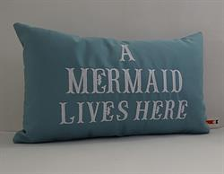 Sunbrella Embroidered Mermaid Pillow Cover - A Mermaid Lives Here - Mineral Blue