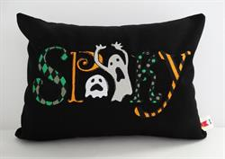 Sunbrella Embroidered Autumn Halloween Spooky Indoor Outdoor Pillow Cover