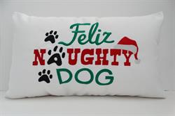 Sunbrella Embroidered Feliz Naughty Dog Indoor Outdoor Pillow Cover - White