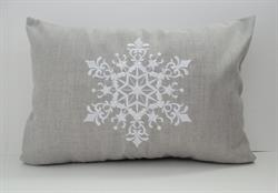 Sunbrella Embroidered Scandinavian Christmas Snowflake Indoor Outdoor Pillow Cover - Cast Silver