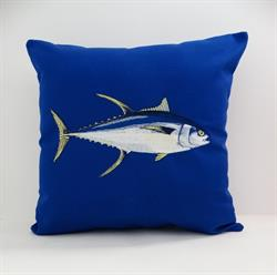 Sunbrella Embroidered Game Fish Yellowfin Tuna Pillow Cover - True Blue