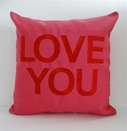 Sunbrella Embroidered Valentine LOVE YOU Indoor Outdoor Pillow Cover - Hot Pink