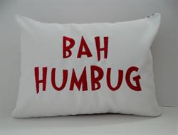 Sunbrella Embroidered BAH Humbug Indoor Outdoor Pillow Cover