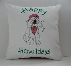 Sunbrella Embroidered Happy Howlidays Christmas Indoor Outdoor Pillow Cover