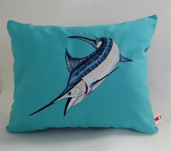 Sunbrella Embroidered Game Fish Blue Marlin Pillow Cover - Aruba