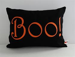 Sunbrella Embroidered Autumn Halloween Boo Indoor Outdoor Pillow Cover - Black/Orange