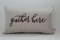 Sunbrella Embroidered Sentiment Indoor Outdoor Pillow Cover - Gather Here - Flax