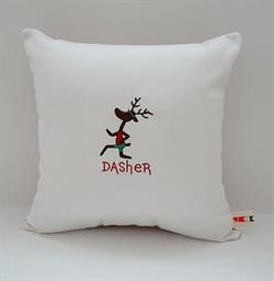 Sunbrella Embroidered Reindeer Dasher Indoor Outdoor Pillow Cover - Natural