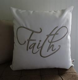 Sunbrella Embroidered Sentiment Pillow Cover - Faith - Natural