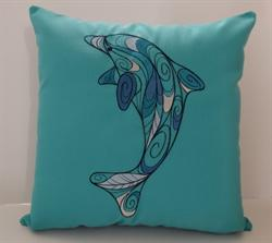 Sunbrella Embroidered Swirly Pillow Cover - Dolphin - Aruba